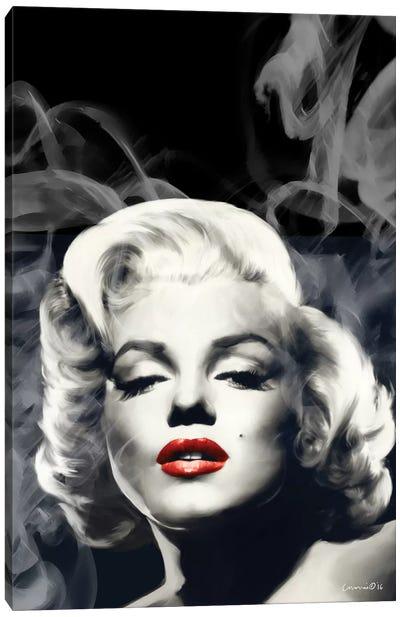 Red Lips Marilyn In Smoke Canvas Art Print