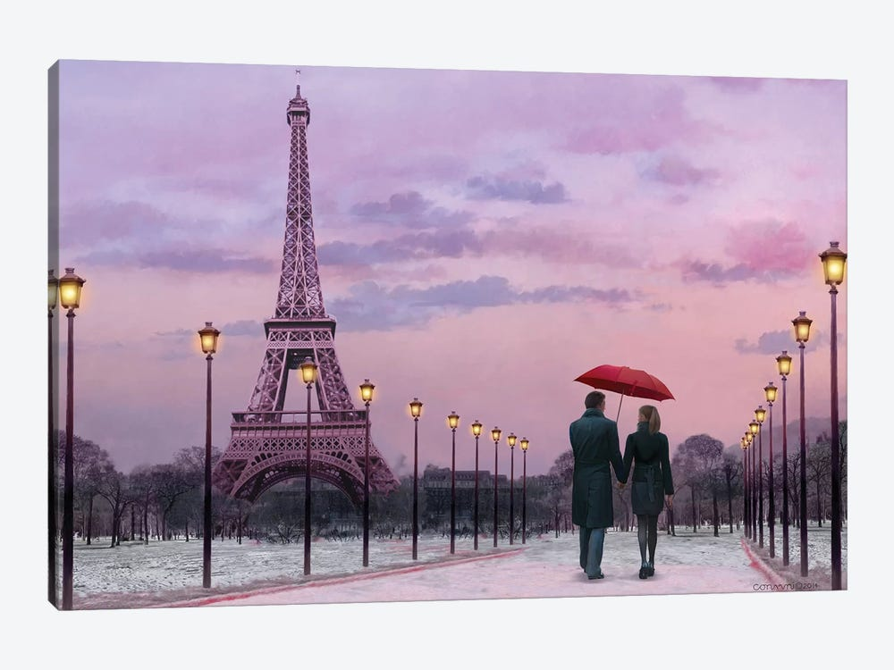Red Umbrella by Chris Consani 1-piece Canvas Artwork