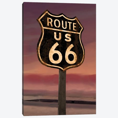 Route 66 Sign Canvas Print #CCI73} by Chris Consani Canvas Print
