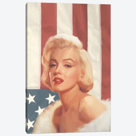 True Blue Marilyn In Flag Canvas Print #CCI87} by Chris Consani Canvas Print
