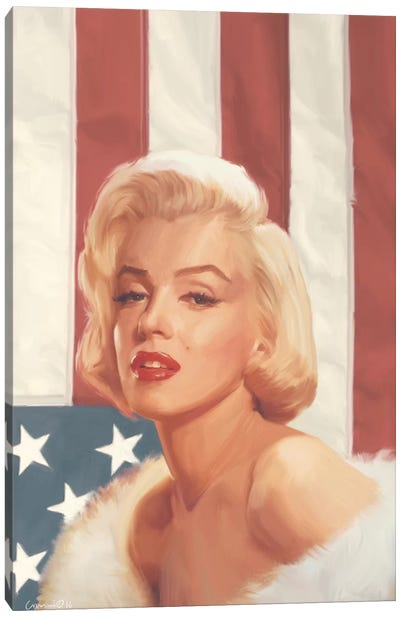 True Blue Marilyn In Flag Canvas Art Print