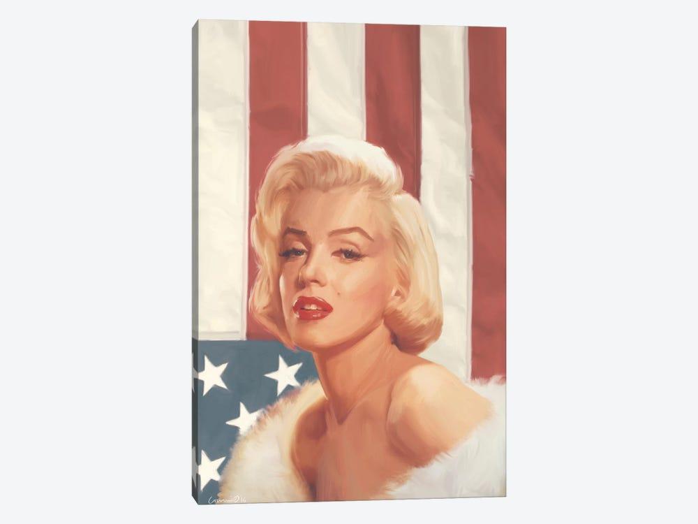 True Blue Marilyn In Flag by Chris Consani 1-piece Canvas Artwork