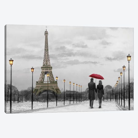 Paris Red Umbrella Canvas Print #CCI91} by Chris Consani Canvas Art Print