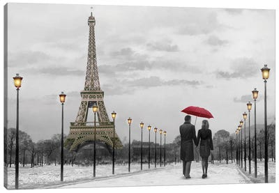 Paris Red Umbrella Canvas Art Print