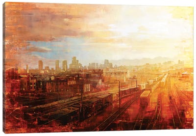 Denver - Afternoon Over The Tracks Canvas Art Print