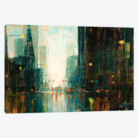 Denver - Broadway In The Rain I Canvas Print #CCK11} by Christopher Clark Canvas Art Print
