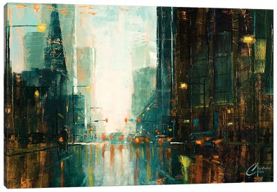 Denver - Broadway In The Rain I Canvas Art Print