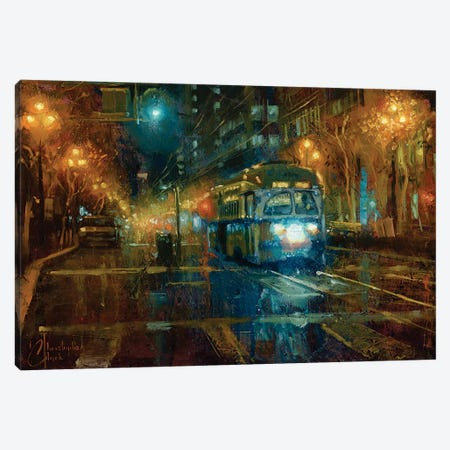 San Francisco Trolley At Night Canvas Print #CCK124} by Christopher Clark Canvas Wall Art