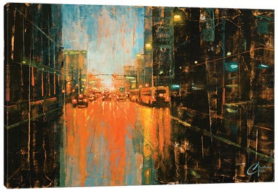 Denver - Broadway In The Rain II Canvas Art Print