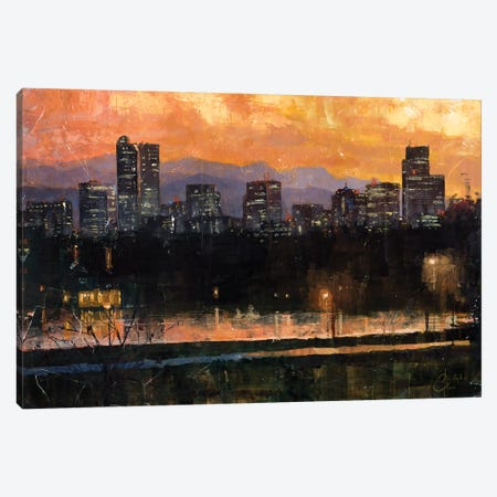 Denver Skyline From City Park III Canvas Print #CCK14} by Christopher Clark Canvas Wall Art