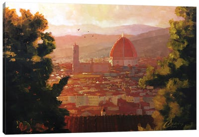 Florence, Italy - The Duomo From A Distance Canvas Art Print