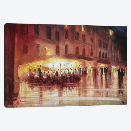 Genova, Italy - Night Cafe 3-Piece Canvas #CCK27} by Christopher Clark Canvas Print