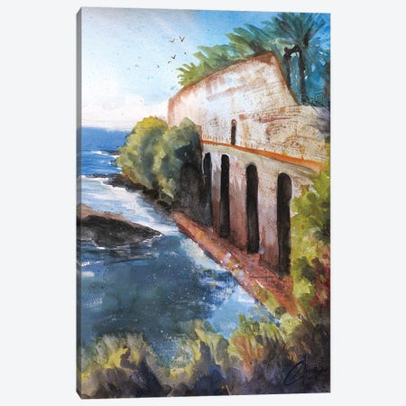 Genova, Italy - Ruins By The Sea Canvas Print #CCK29} by Christopher Clark Canvas Wall Art
