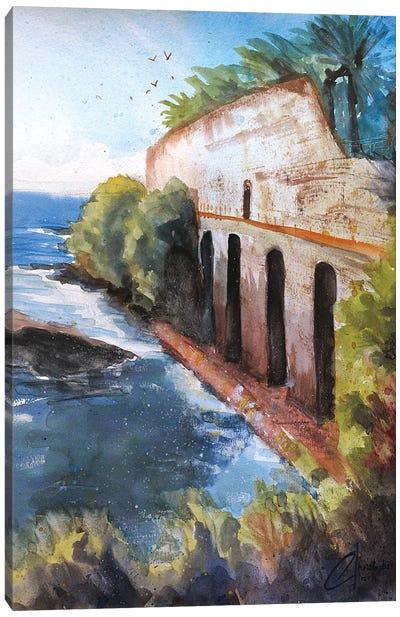 Genova, Italy - Ruins By The Sea Canvas Art Print