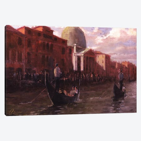 Gondoliers In Venice, Italy Canvas Print #CCK31} by Christopher Clark Canvas Print
