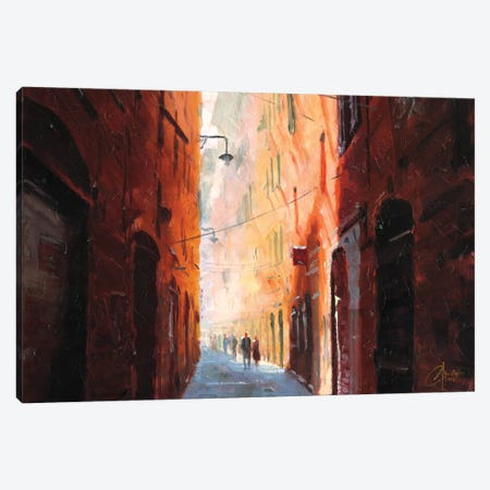 Italian Street On A Cool Afternoon Canvas Print #CCK35} by Christopher Clark Canvas Artwork