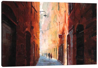 Italian Street On A Cool Afternoon Canvas Art Print