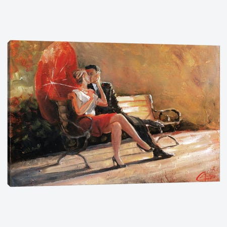 Kiss In The Park I 3-Piece Canvas #CCK38} by Christopher Clark Canvas Art Print