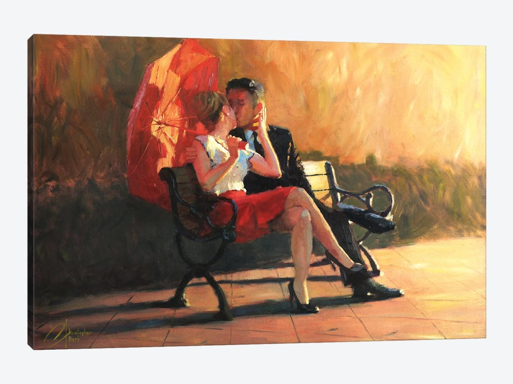 Kiss In The Park II by Christopher Clark 1-piece Canvas Art