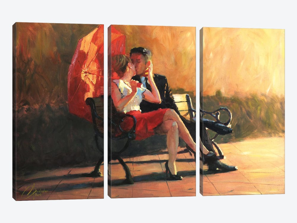 Kiss In The Park II by Christopher Clark 3-piece Canvas Wall Art