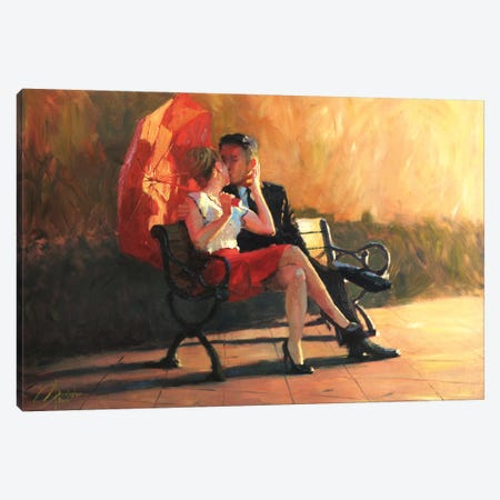Kiss In The Park II Canvas Print #CCK39} by Christopher Clark Art Print