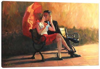 Kiss In The Park II Canvas Art Print