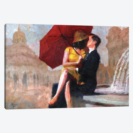 Kiss In The Piazza Canvas Print #CCK40} by Christopher Clark Canvas Artwork