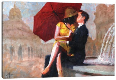 Kiss In The Piazza Canvas Art Print
