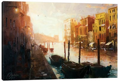 Life In Venice, Italy Canvas Art Print