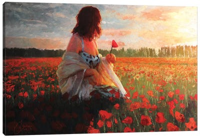 Love In A Field Of Poppies Canvas Art Print