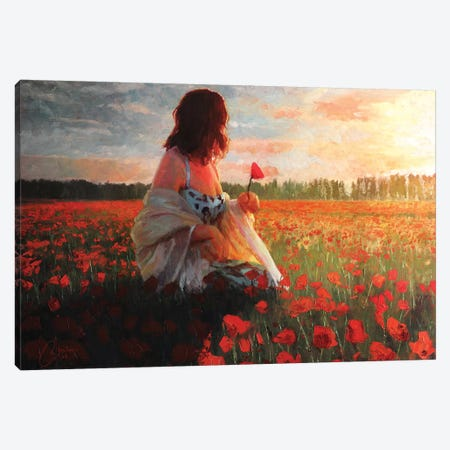 Love In A Field Of Poppies Canvas Print #CCK47} by Christopher Clark Canvas Art Print