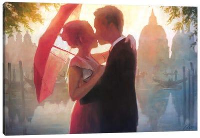 Red Umbrella In Venice Canvas Art Print
