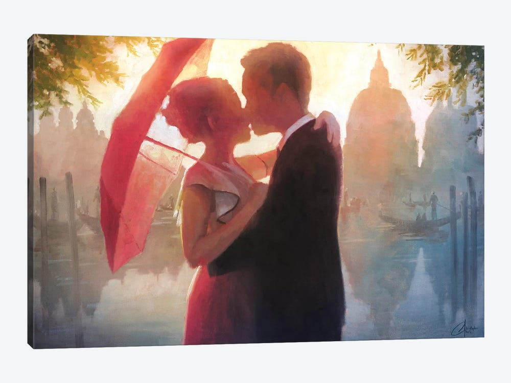 Red Umbrella In Venice by Christopher Clark 1-piece Canvas Art Print