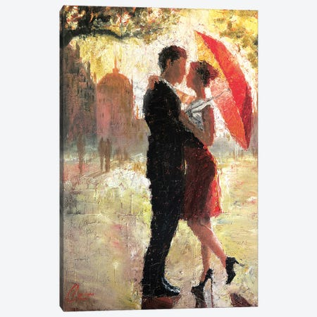 Red Umbrella Romance I Canvas Print #CCK55} by Christopher Clark Canvas Artwork