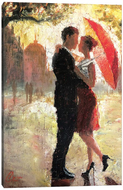 Red Umbrella Romance I Canvas Art Print
