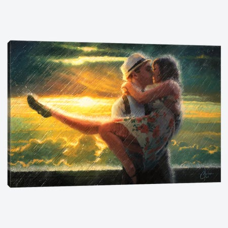 Romance In The Rain Canvas Print #CCK60} by Christopher Clark Canvas Art