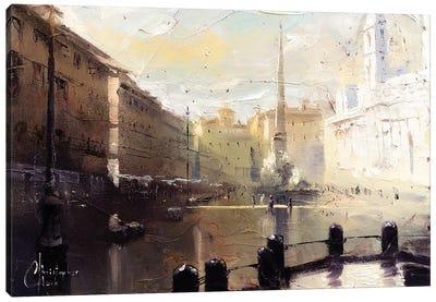 Rome - Piazza Navona At Dawn Study Canvas Art Print