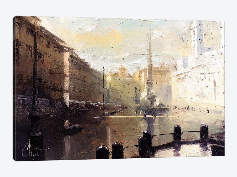 Rome - Piazza Navona At Dawn Study by Christopher Clark 1-piece Canvas Print