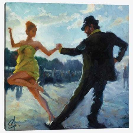 Tango In The Piazza Canvas Print #CCK65} by Christopher Clark Art Print