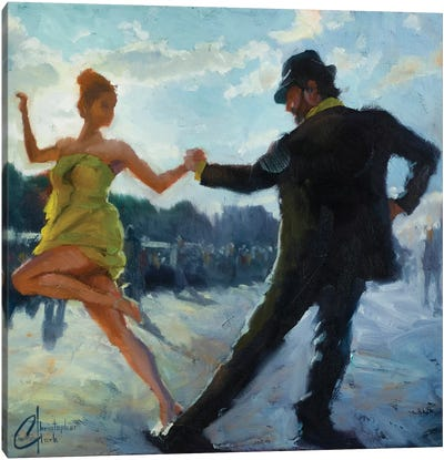 Tango In The Piazza Canvas Art Print