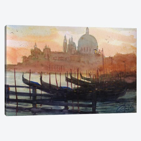 Venice, Italy - Sunset Gondolas I Canvas Print #CCK81} by Christopher Clark Canvas Art