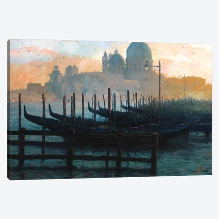 Venice, Italy - Sunset Gondolas II Canvas Print #CCK82} by Christopher Clark Canvas Wall Art
