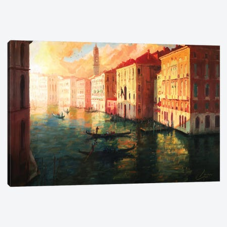 Venice, Italy – The Grand Canal At Sunset Canvas Print #CCK83} by Christopher Clark Canvas Art