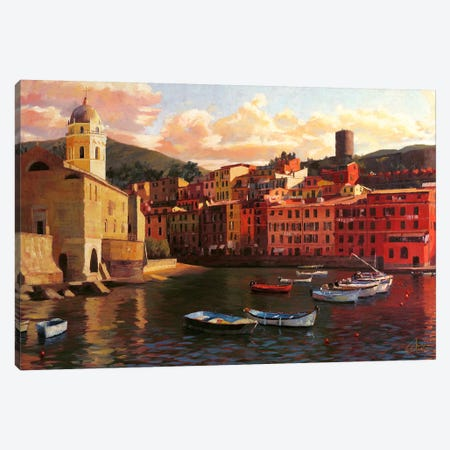 Vernazza Harbor II Canvas Print #CCK85} by Christopher Clark Canvas Print