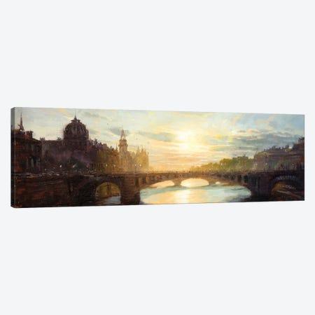 Paris - Sunset Over The Seine 3-Piece Canvas #CCK91} by Christopher Clark Canvas Art Print