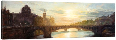 Paris - Sunset Over The Seine Canvas Art Print