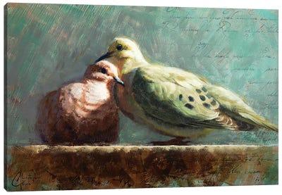 Doves In Love Canvas Art Print