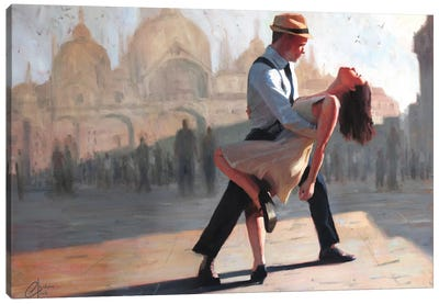 Dancing In The Piazza Canvas Art Print