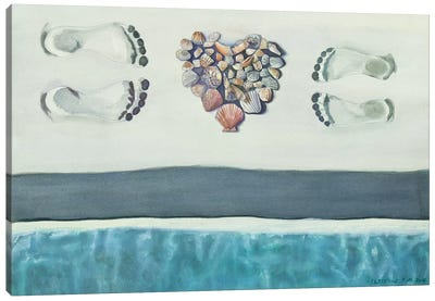 Finding Love On The Beach Canvas Art Print