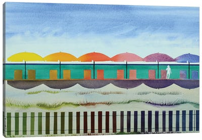 Watercolor Beach Canvas Art Print